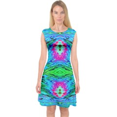 The Tropical Watercolor Peacock Feather Created By Flipstylez Designs  Capsleeve Midi Dress