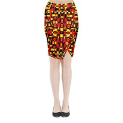 Red Black Yellow 1 Midi Wrap Pencil Skirt