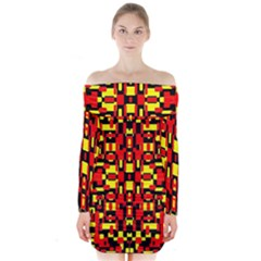 Red Black Yellow 1 Long Sleeve Off Shoulder Dress