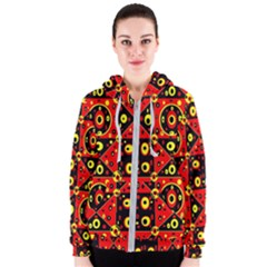 Red Black Yellow 2 Women s Zipper Hoodie