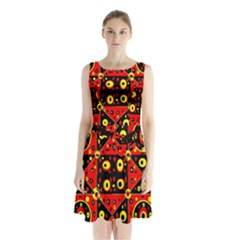 Red Black Yellow 2 Sleeveless Waist Tie Chiffon Dress