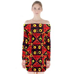 Red Black Yellow 2 Long Sleeve Off Shoulder Dress