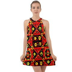 Red Black Yellow 2 Halter Tie Back Chiffon Dress