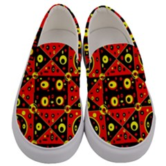 Red Black Yellow 2 Men s Canvas Slip Ons