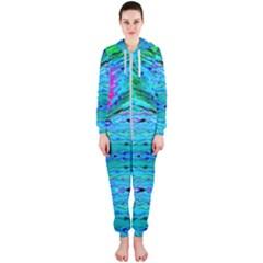New Look Tropical Design By Flipstylez Designs  Hooded Jumpsuit (ladies)