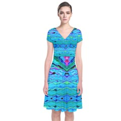 New Look Tropical Design By Flipstylez Designs  Short Sleeve Front Wrap Dress