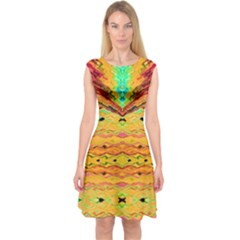 Yellow And Pink Ready For The Island By Flipstylez Designs  Capsleeve Midi Dress
