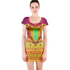 Pink Yellow And Tropical Pink Created By Flipstylez Designs Short Sleeve Bodycon Dress