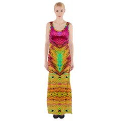 Pink Yellow And Tropical Pink Created By Flipstylez Designs Maxi Thigh Split Dress