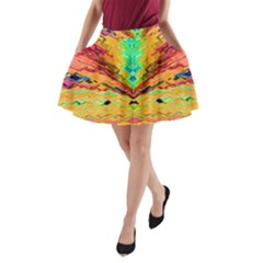 Pink Yellow And Tropical Pink Created By Flipstylez Designs A Line Pocket Skirt