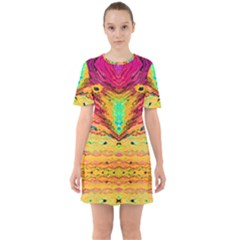 Pink Yellow And Tropical Pink Created By Flipstylez Designs Sixties Short Sleeve Mini Dress