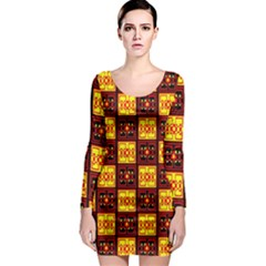 Red Black Yellow 3 Long Sleeve Bodycon Dress