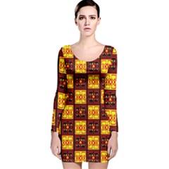 Red Black Yellow 3 Long Sleeve Velvet Bodycon Dress