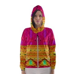 Pink Native Tropics Created By Flipstylez Designs Hooded Windbreaker (women)