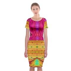 Pink Native Tropics Created By Flipstylez Designs Classic Short Sleeve Midi Dress
