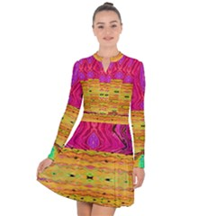 Pink Native Tropics Created By Flipstylez Designs Long Sleeve Panel Dress