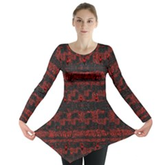 Burgundy Design With Black Zig Zag Pattern Created By Flipstylez Designs Long Sleeve Tunic