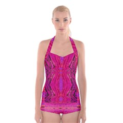 Pink And Purple And Peacock Created By Flipstylez Designs  Boyleg Halter Swimsuit