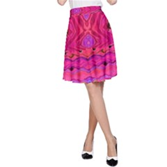 Pink And Purple And Peacock Design By Flipstylez Designs  A Line Skirt