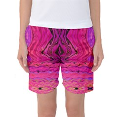 Pink And Purple And Peacock Design By Flipstylez Designs  Women s Basketball Shorts