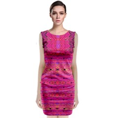 Pink And Purple And Beautiful Peacock Design Created By Flipstylez Designs Classic Sleeveless Midi Dress