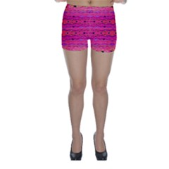 Pink And Purple And Peacock Created By Flipstylez Designs Skinny Shorts