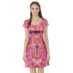 Pink And Purple Beautiful Golden And Purple Butterflies Created By Flipstylez Designs Short Sleeve Skater Dress