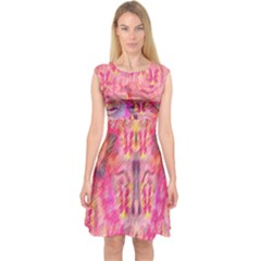 Pink And Purple Beautiful Golden And Purple Butterflies Created By Flipstylez Designs Capsleeve Midi Dress