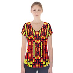 Red Black Yellow 4 Short Sleeve Front Detail Top