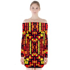 Red Black Yellow 4 Long Sleeve Off Shoulder Dress