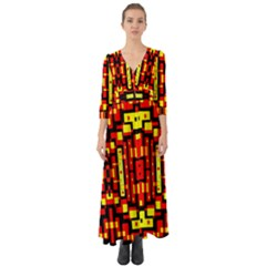 Red Black Yellow 4 Button Up Boho Maxi Dress