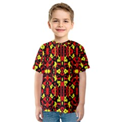 Red Black Yellow 5 Kids  Sport Mesh Tee