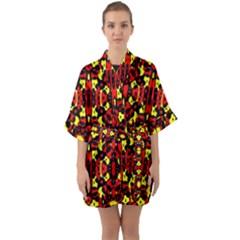 Red Black Yellow 5 Quarter Sleeve Kimono Robe