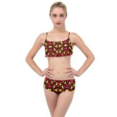 Red Black Yellow 5 Layered Top Bikini Set