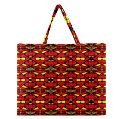 Red Black Yellow 6 Zipper Large Tote Bag