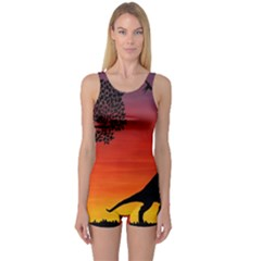 Sunset Dinosaur Scene One Piece Boyleg Swimsuit