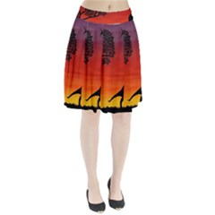 Sunset Dinosaur Scene Pleated Skirt