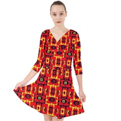 Red Black Yellow 7 Quarter Sleeve Front Wrap Dress