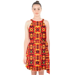 Red Black Yellow 7 Halter Collar Waist Tie Chiffon Dress