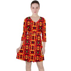 Red Black Yellow 7 Ruffle Dress
