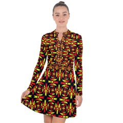 Red Black Yellow 9 Long Sleeve Panel Dress