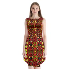 Red Black Yellow 8 Sleeveless Chiffon Dress
