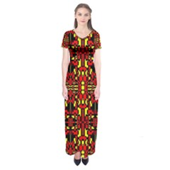 Red Black Yellow 8 Short Sleeve Maxi Dress