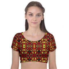 Red Black Yellow 8 Velvet Short Sleeve Crop Top