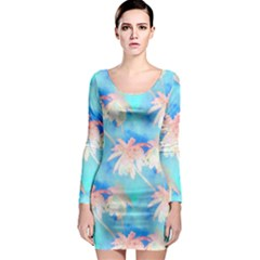Palm Trees Summer Afternoon Long Sleeve Bodycon Dress
