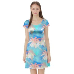 Palm Trees Summer Afternoon Short Sleeve Skater Dress