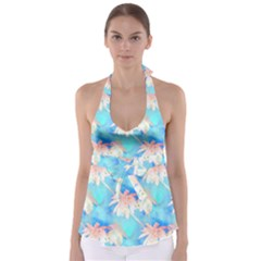 Palm Trees Summer Afternoon Babydoll Tankini Top