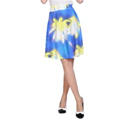 Palm Trees Bright Blue Green A Line Skirt