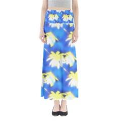 Palm Trees Bright Blue Green Full Length Maxi Skirt