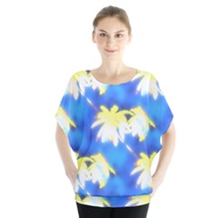Palm Trees Bright Blue Green Blouse